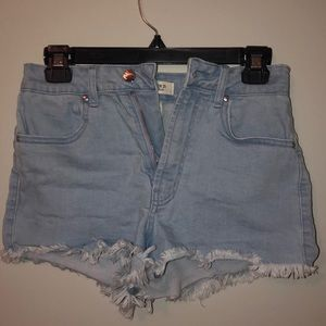 Sky blue, high rise, frayed Forever 21 jean shorts